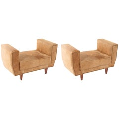 Pair of Italian Hide Benches on Tapered Legs