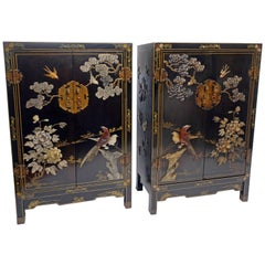 Pair of Chinese Black Lacquer Cabinets with Hardstone Inlay
