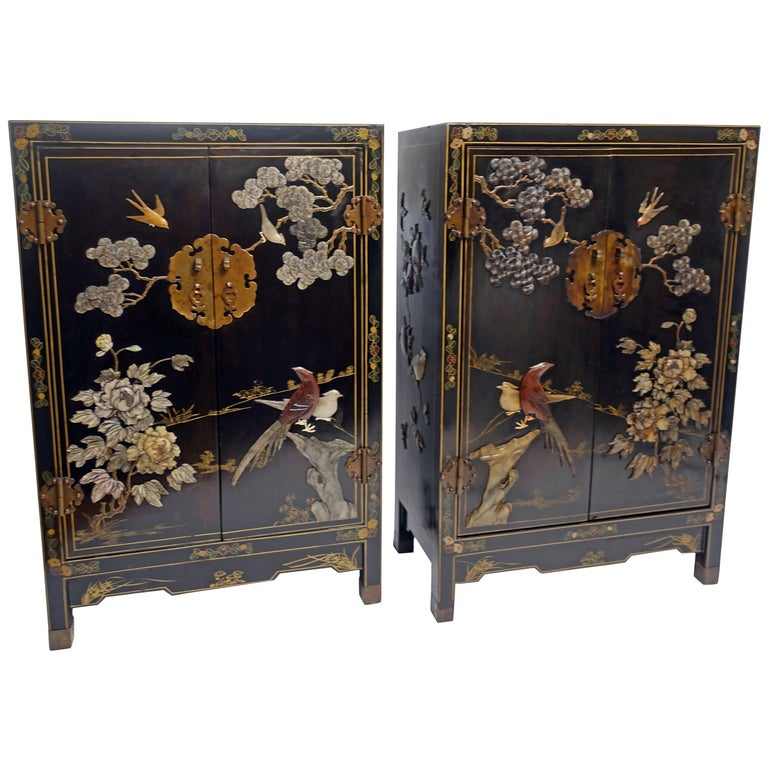 Pair of Chinese Black Lacquer Cabinets with Hardstone Inlay 1