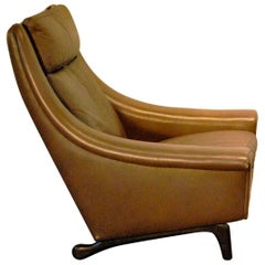 Aage Christensen Designed Danish Modern 'Ambassador' Leather Lounge Chair