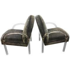 Exceptional Pair of Pace Lucite Lounge Chairs