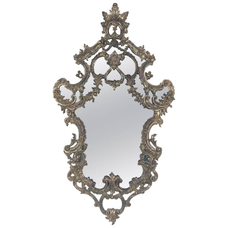 Ornate italian silver leaf mirror for sale at 1stdibs for Silver mirrors for sale