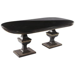 Whimsical Ebonized Dining Table with Glass Top on Urn-Shaped Pedestal Base
