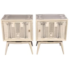Pair of Architectural End Tables in the Manner of Fornasetti