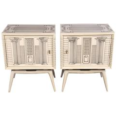 A Pair of Architectural End Tables in the manner Of Fornasetti