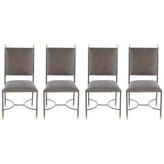 Set of Four Italian Iron and Bronze Chairs with Stretcher Base