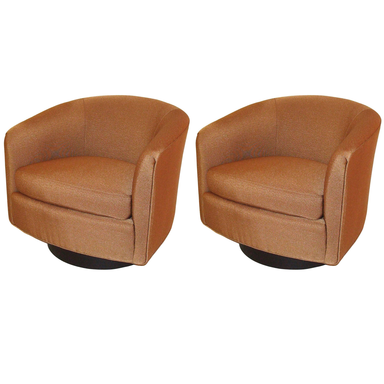 Pair Of Vintage Milo Baughman Swivel Chairs