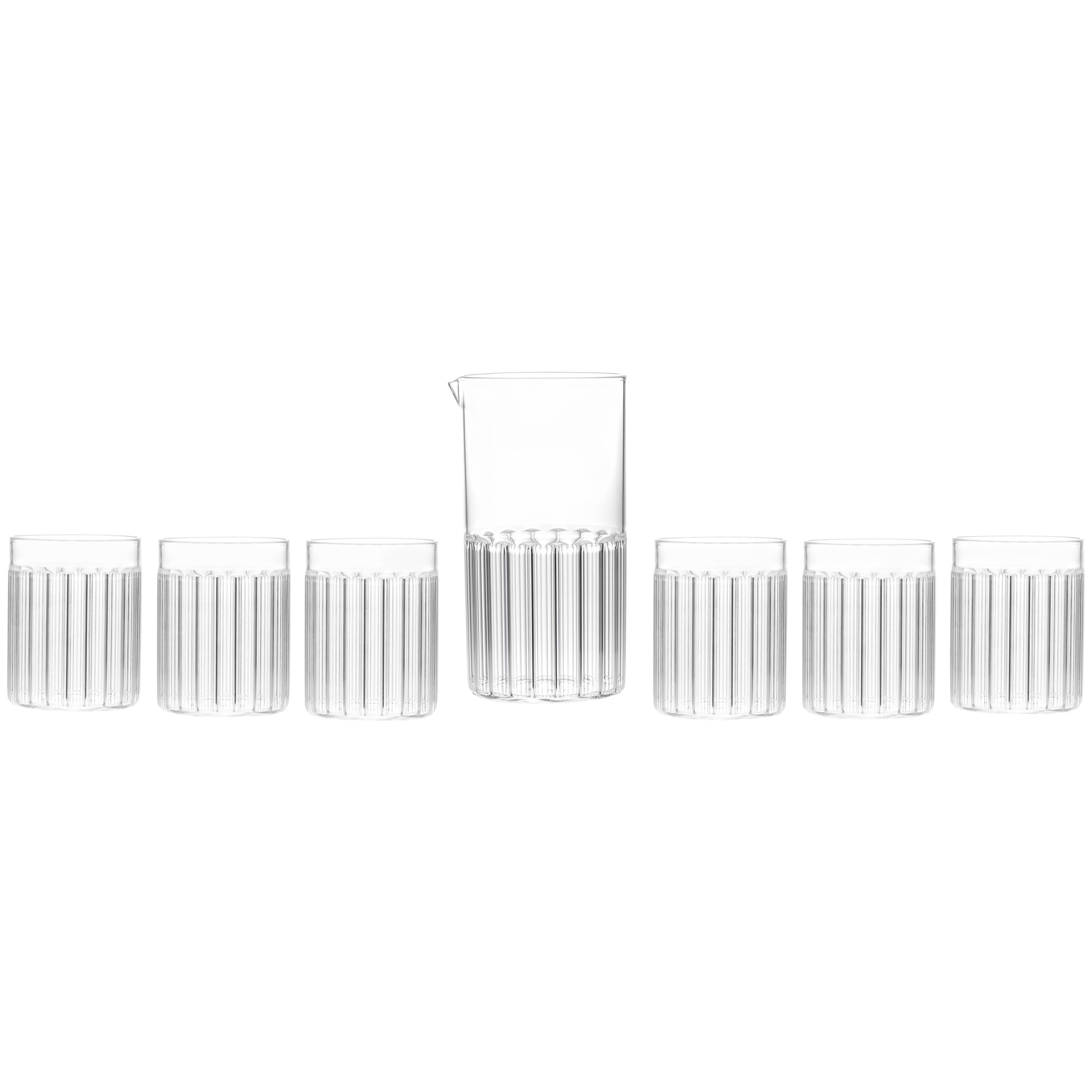 Contemporary Czech Minimal Carafe Pitcher with Six Tumbler Glasses Set, In Stock