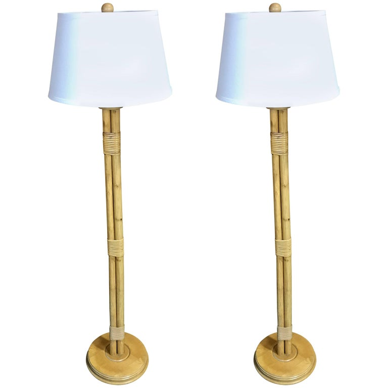 Pair of mid century bamboo and reed floor lamps for sale for Reeded brass floor lamp