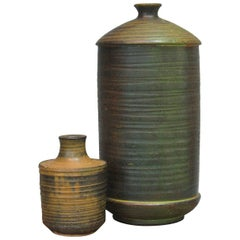 Complimentary Pair of Cylindrical Art Pottery Vases