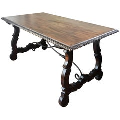 19th Century Trestle Farm Table with Lyre Legs and Iron Stretcher