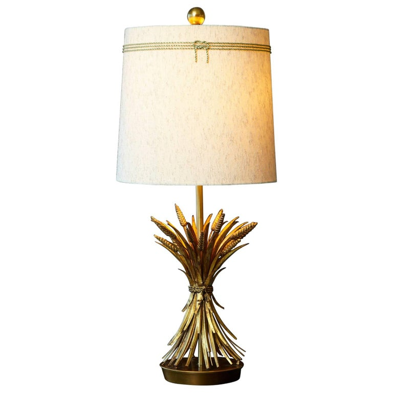 Sheaf of Wheat Gilt Metal Table Lamp by Mabro, Lamp 2 For Sale