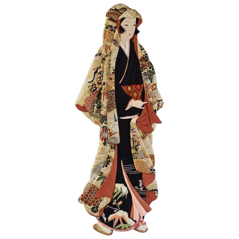 Japanese Traditional Brocade Wall Decorative Art by Oshie Artist, circa 1995