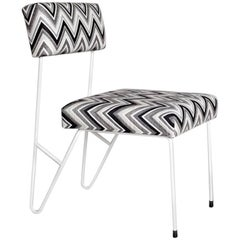 Outdoor Dining Upholstered Side Chair Powder Coated Stainless Steel Sunbrella