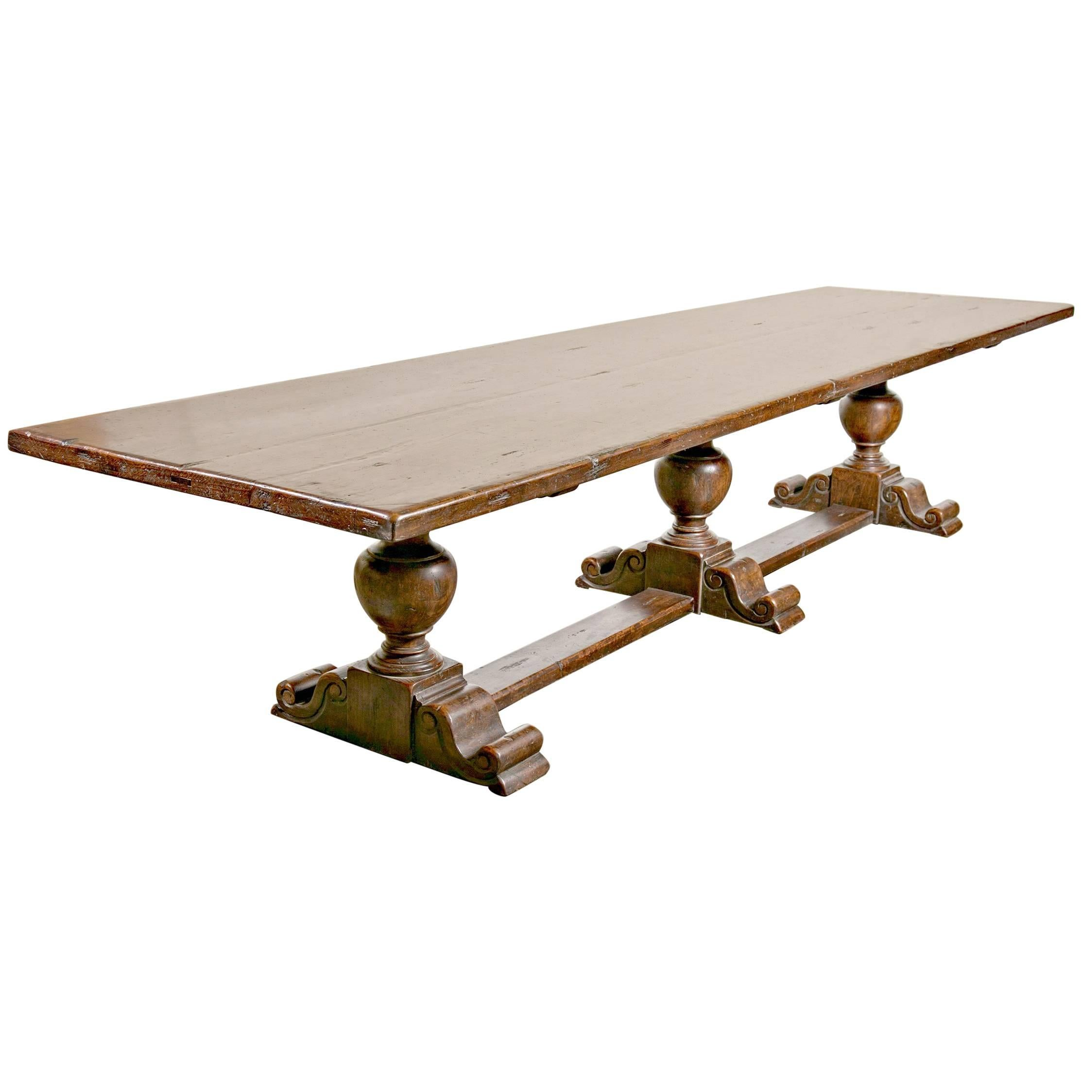 Monumental Early 19th Century Solid Walnut French Chateau Trestle Table For  Sale