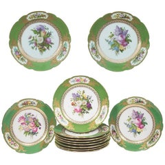 Set of 12 Old Paris Feuillet Porcelain Green-Ground Dessert Plates