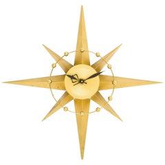 Spartus Starburst Clock with Circular Detail and Brass Spheres, circa 1950