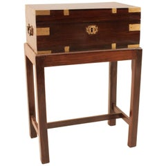 British Campaign Rosewood Officer's Chest on Stand