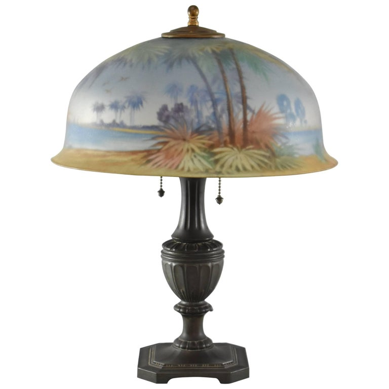 Antique Pairpoint Reverse Painted Lamp With Palm Trees And