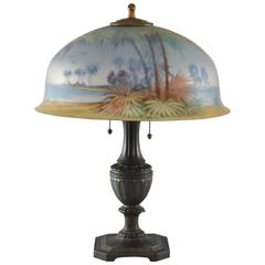 Antique Pairpoint Reverse Painted Lamp with Palm Trees and Beach Scene Signed