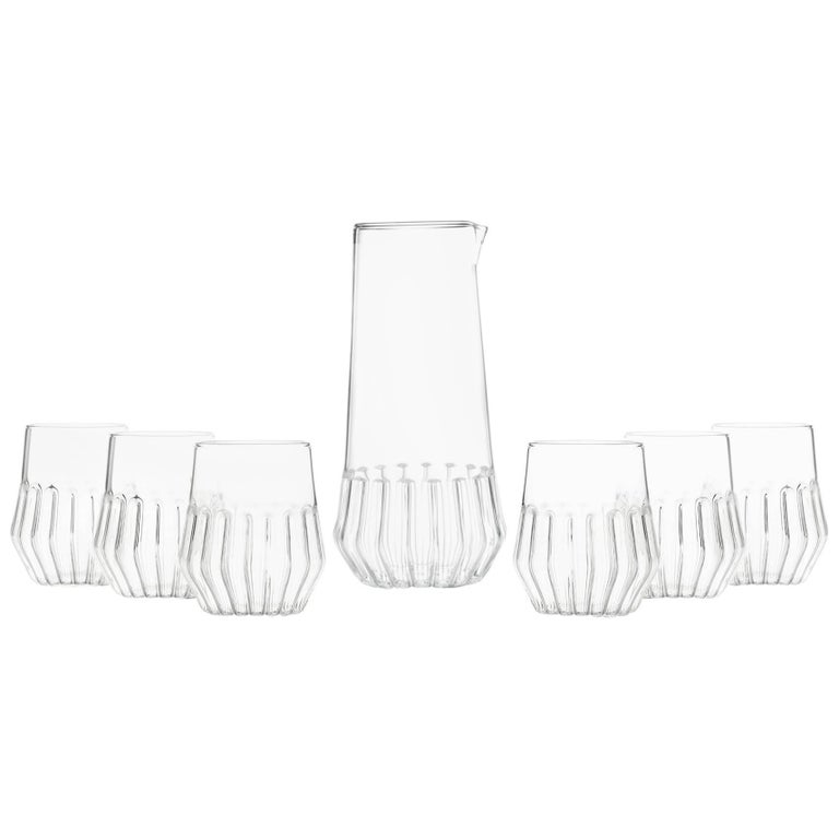 Felicia Ferrone Contemporary Mixed Carafe Pitcher and Six Mixed Small Glass Set For Sale