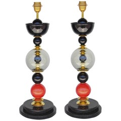 Pair of Italian Vintage Murano Glass Table Lamps