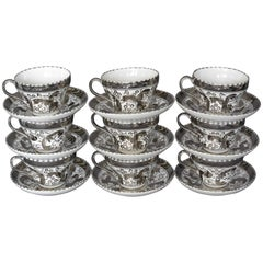 Set of Nine Vintage Wedgwood Platinum Cups and Saucers