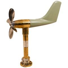 Vintage Nautical Anemometer in Brass, Aluminum and Fiberglass