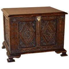 19th Century Carved Miniature Blanket Chest