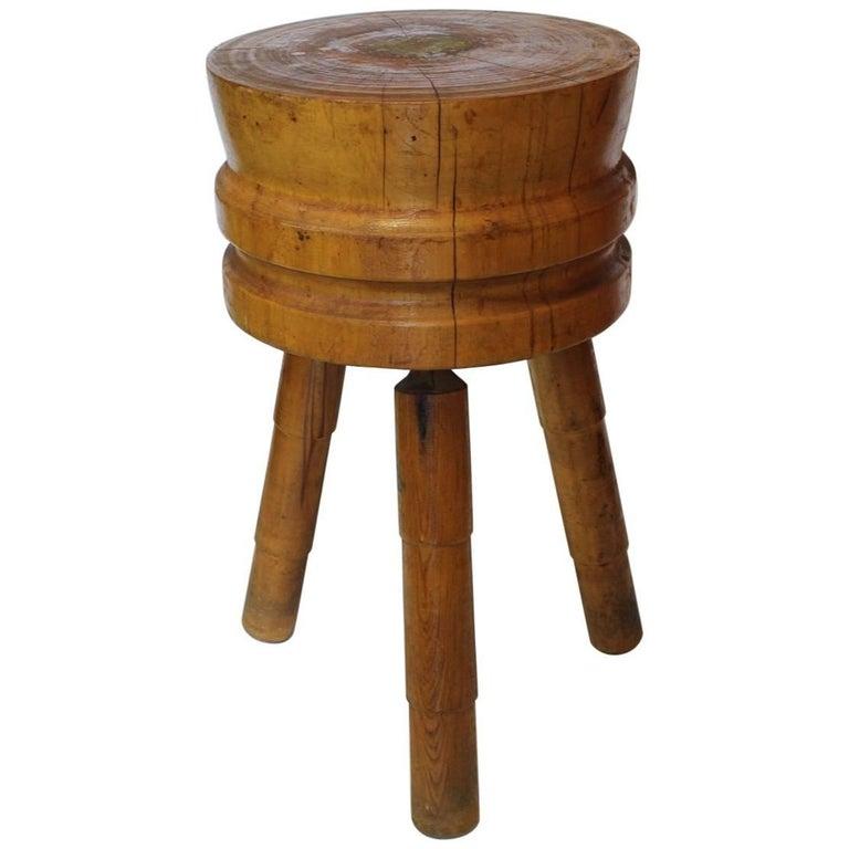 Antique Butcher Round Block Table