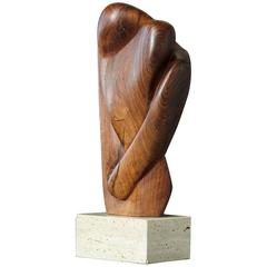 Lovers, Biomorph Abstract Teak Sculpture on Travertine Base, Artist Unknown