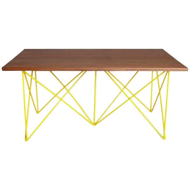Teak Coloured Coffee Table: Outdoor Teak Stainless Steel Powder Coated Coffee Cocktail