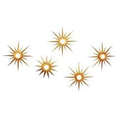 Set of Twelve Brutalist Gilt Iron Starburst Light Fixtures Constellation