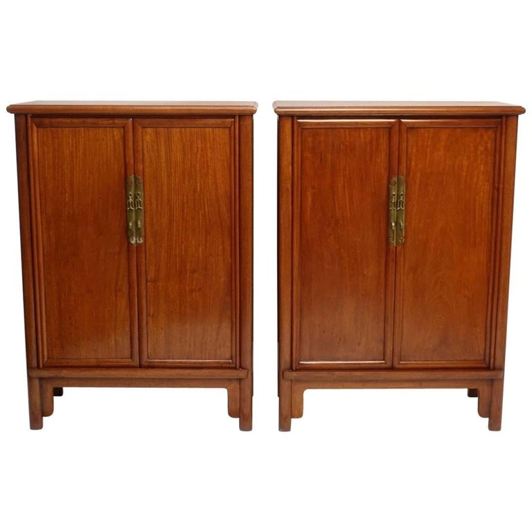 Pair of Mid-Century Chinese Teak Wood Cabinets 1