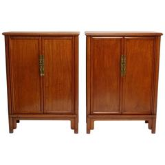 Pair of Mid-Century Chinese Teak Wood Cabinets