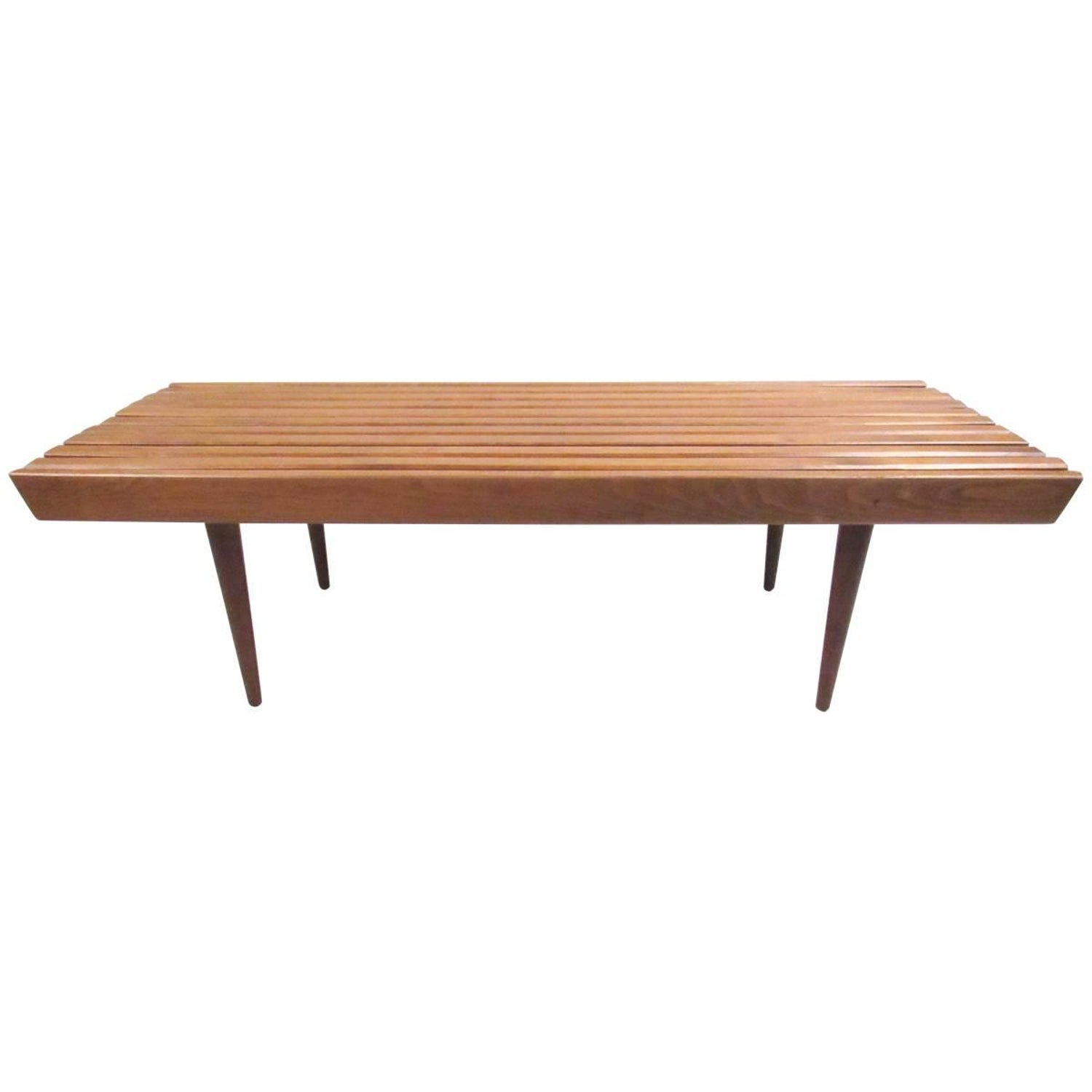 Mid Century George Nelson Style Wood Slat Bench Coffee Table at