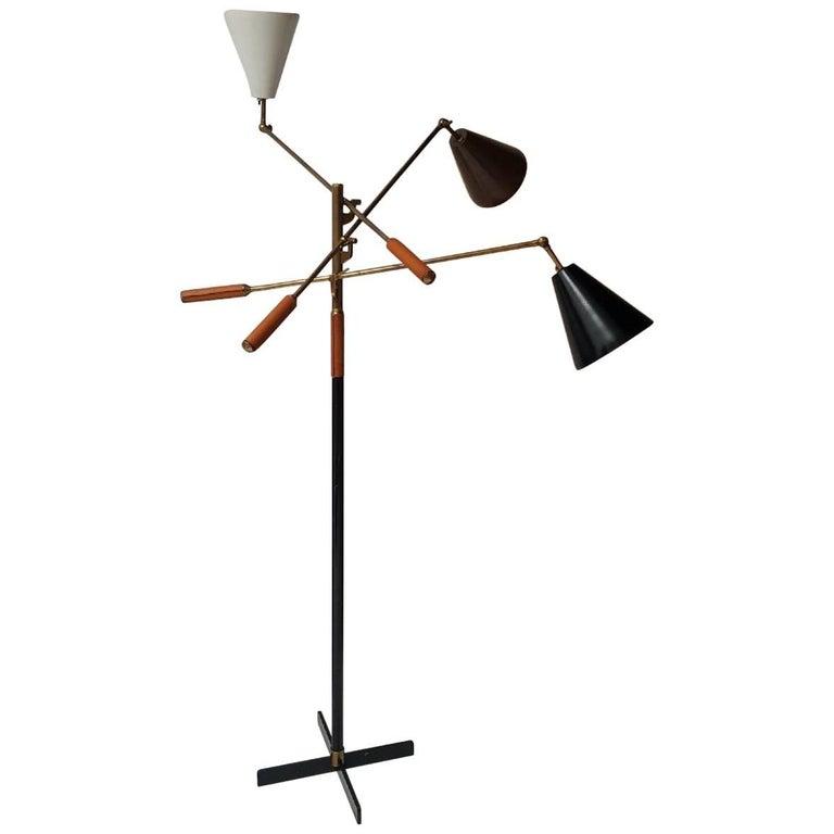 Classic Italian Arredoluce Styled 'Triennale' Floor Lamp Brass & Cognac Leather 1