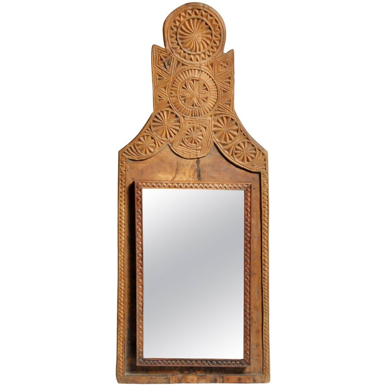 Pakistani Hand-Carved Wooden Mirror