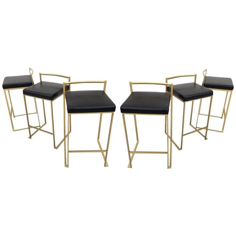 Six Minimalist Modern Bar Stools By Enzo Berti For Sale At