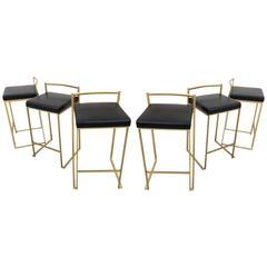 Six Minimalist Modern Bar Stools by Enzo Berti