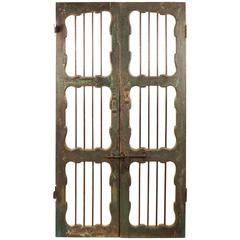 Painted Teak and Iron Courtyard Door or Gate from India