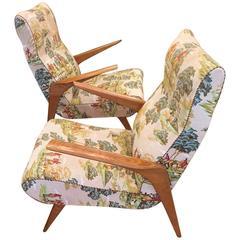 Pair of Italian Mid-Century Armchairs, Original Fabric