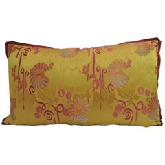 19th Century Yellow Japanese Bolster Decorative Pillow with Red Flat Trim