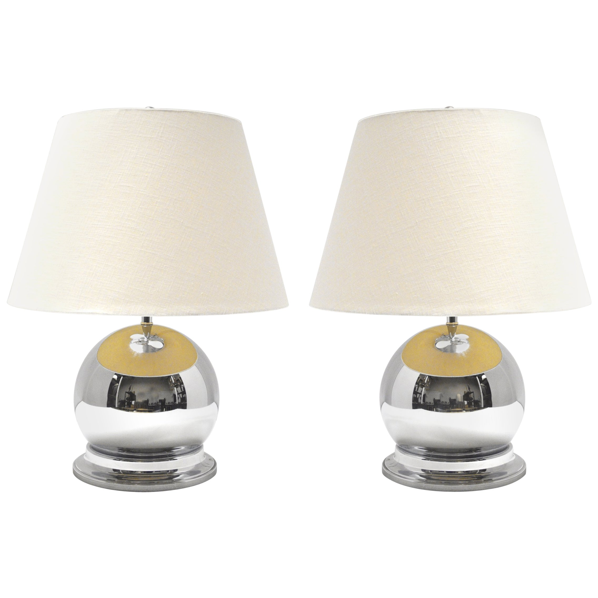 Pair of 1980s Chrome Ball Lamps
