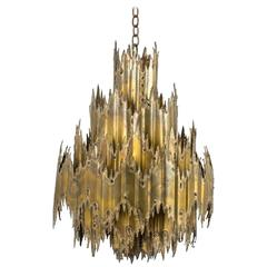 Vintage Mid-Century Brutalist Chandelier by Tom Greene