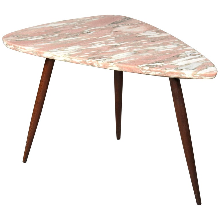 Phillip Lloyd Powell Side Table with Pink Marble Surface, 1960s