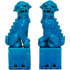 Pair of Vintage Figures of Chinese Export Turquoise Guardian Lions or Foo Dogs