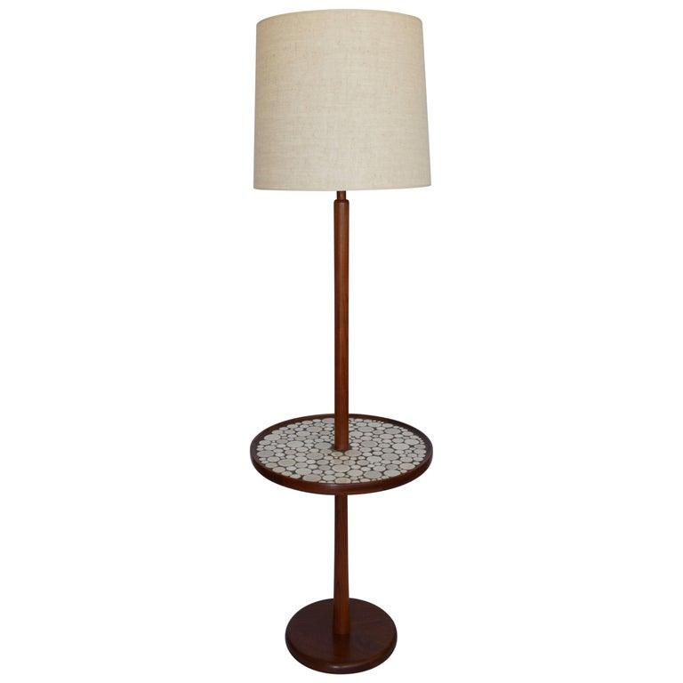 Gordon and Jane Martz Walnut Floor Lamp with Ceramic Tiles