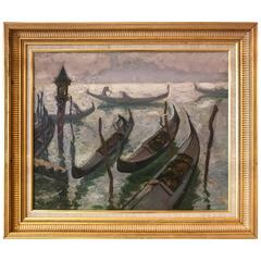 """""""Gondolas in Venice"""" by Jacques Martin-Ferrieres"""