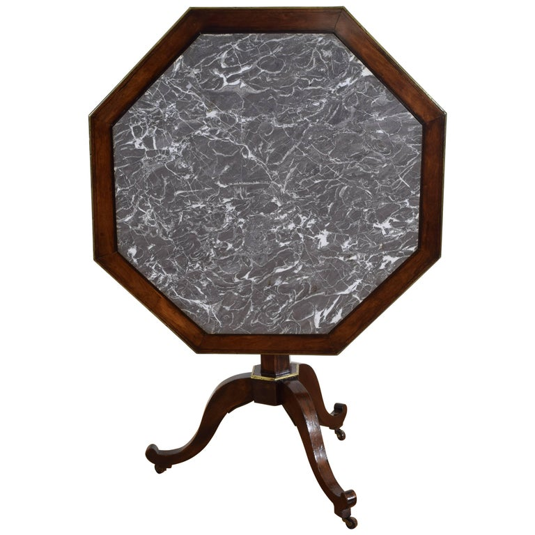 French Restauration Mahogany Brass & Marble Tilt-Top Table, Early 19th Century
